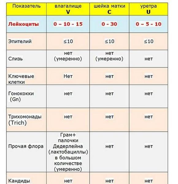 анализ мазка на флору расшифровка норма таблица