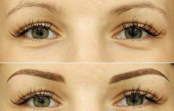 Фото до и после волоскового татужа бровей