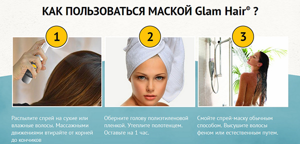 Применение спрея Действие спрея-маски «Glam Hair»