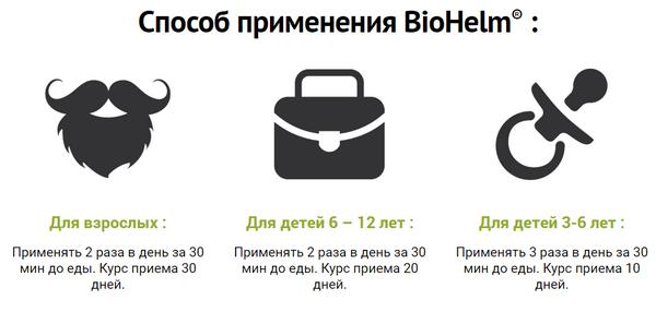 Применение «Biohelm Plus»