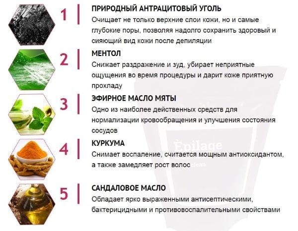"Состав средства ""Epilage"""