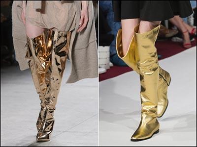 Обувь цвета металлик